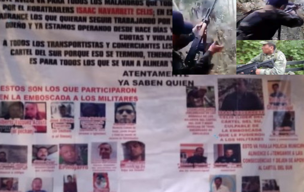 En Narcomanta filtran fotografías de Sicarios que emboscaron y mataron a 3  Militares en la Sierra de Guerrero