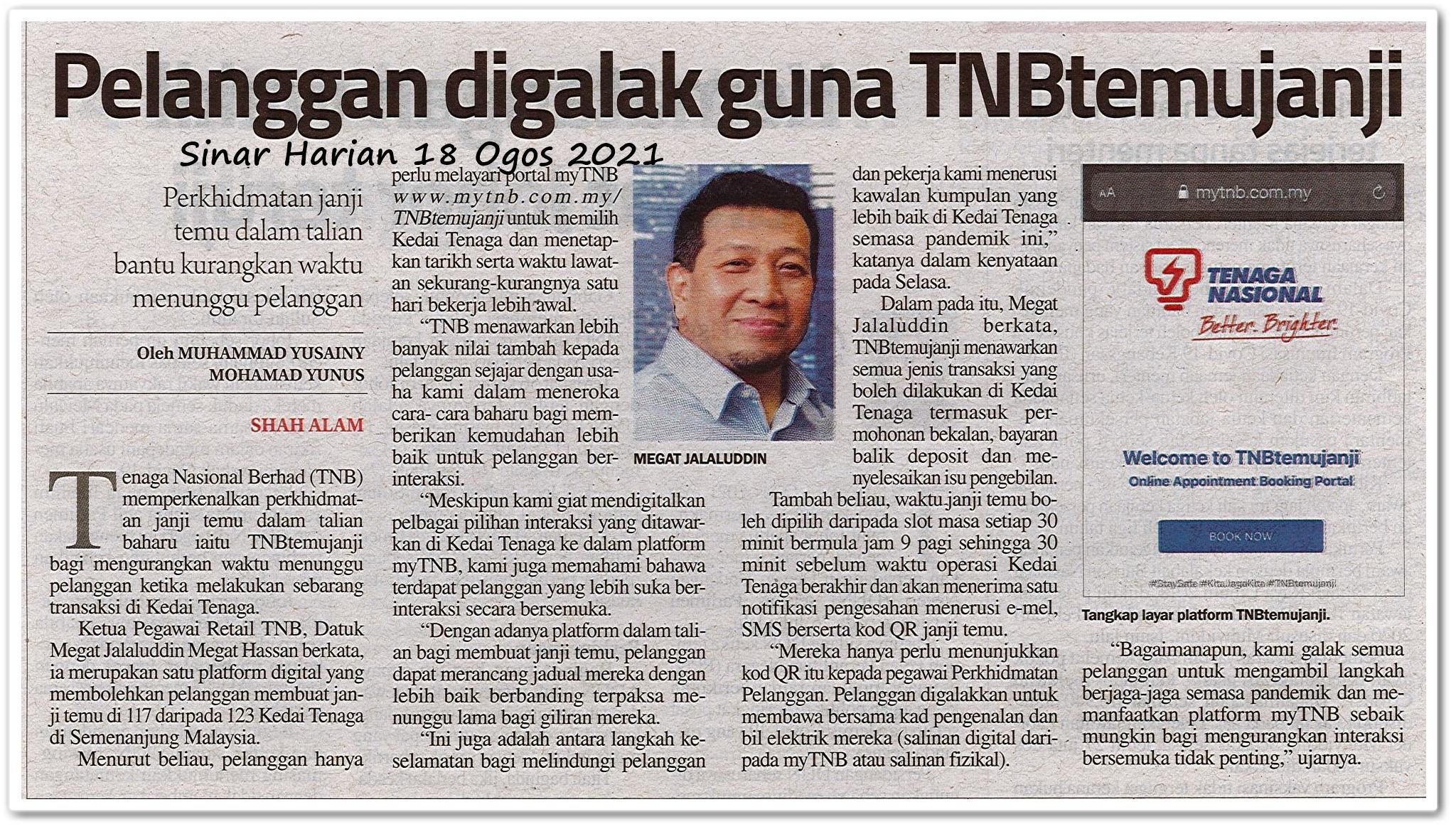 Pelanggan digalak guna TNBtemujanji - Keratan akhbar Sinar Harian 18 Ogos 2021