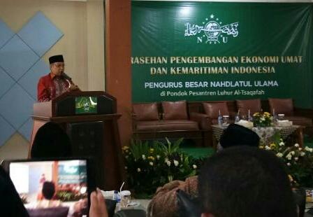 """Foto: Ketum PBNU memberikan sambutan acara """"Sarasehan Pengembangan Ekonomi Umat Dan Kemaritiman Indonesia"""" di Jakarta"""