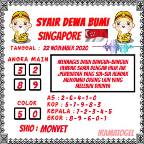 Syair SGP Minggu 22 November 2020 -