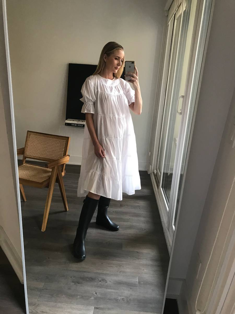 How to Style a Summer Dress for Fall and Winter — Kristen Marie Nichols in a tiered white summer dress and knee-high boots