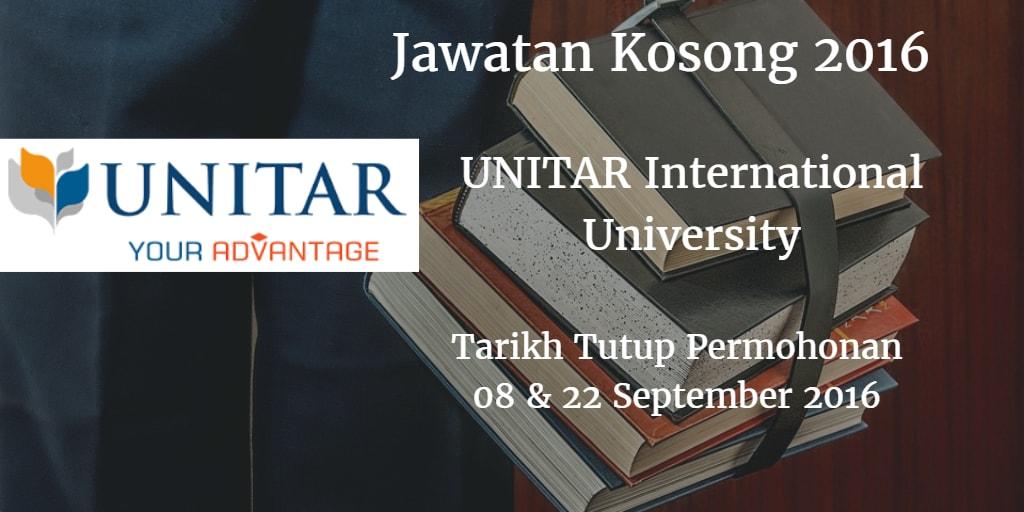 Jawatan Kosong UNITAR International University 08 & 22 September 2016