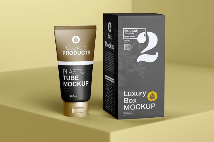 Box And Cosmetic Tube Mockup PSD Free Download