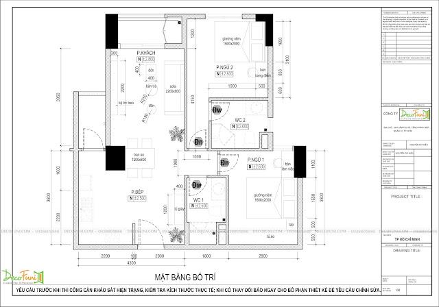 Thiết kế và thi công căn hộ chung cư Compass One - Tp. Thủ Dầu Một, Bình Dương - Bản vẽ bố trí mặt bằng