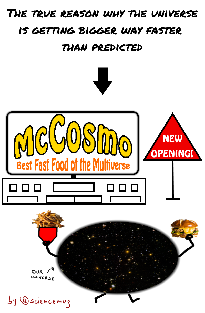 the universe leaves a fast food (by @sciencemug)