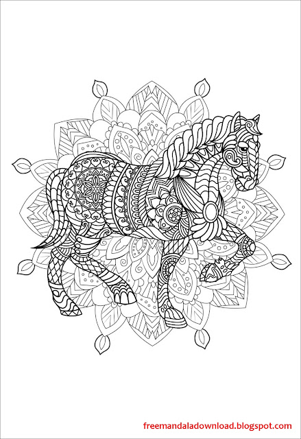 komplexe mandala malvorlagen mit pferd pdf  free mandala
