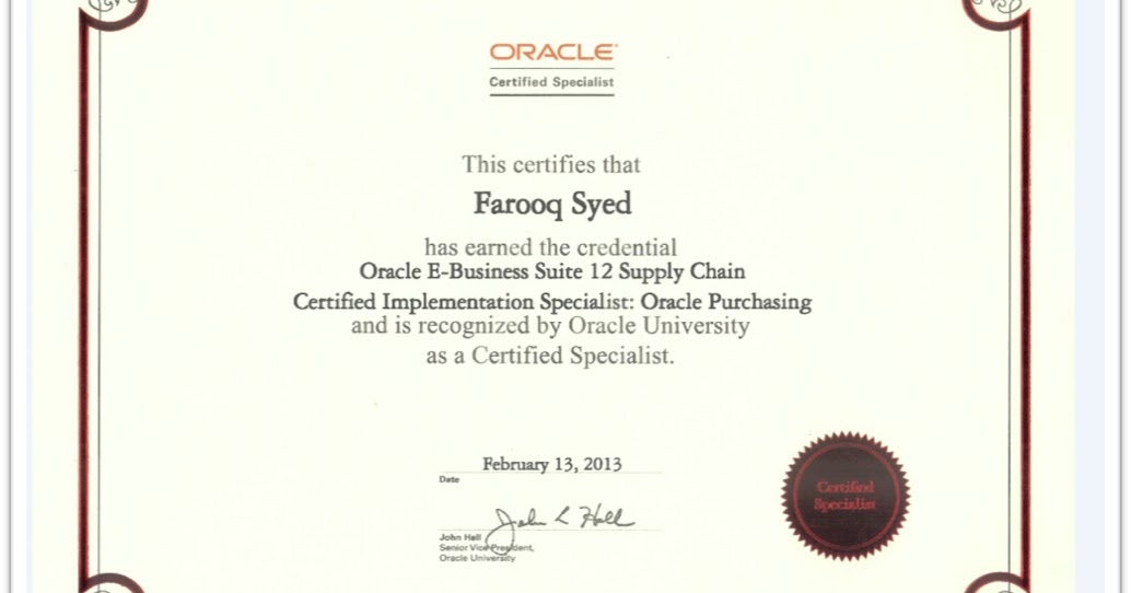 Oracle Certified Applications Specialist Functional Oracle