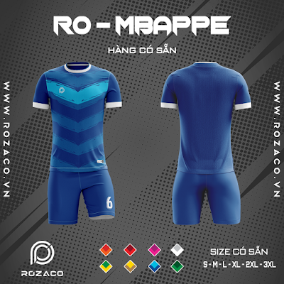 Áo Không Logo Rozaco RO-MBAPPE Màu Xanh Bích