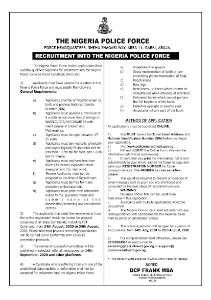 Police Recruitment 2020.