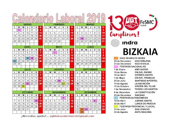 Calendario Laboral Donostia 2019.Seccion Sindical Ugt Indra Euskadi