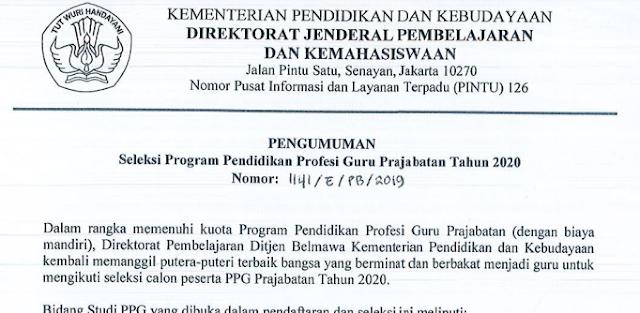 JADWAL DAN SELEKSI PPG PRAJABATAN TAHUN 2020