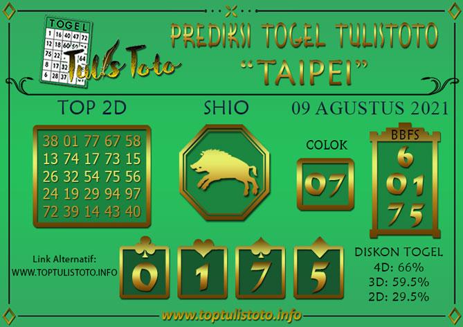 Prediksi Togel TAIPEI TULISTOTO 09 AGUSTUS 2021