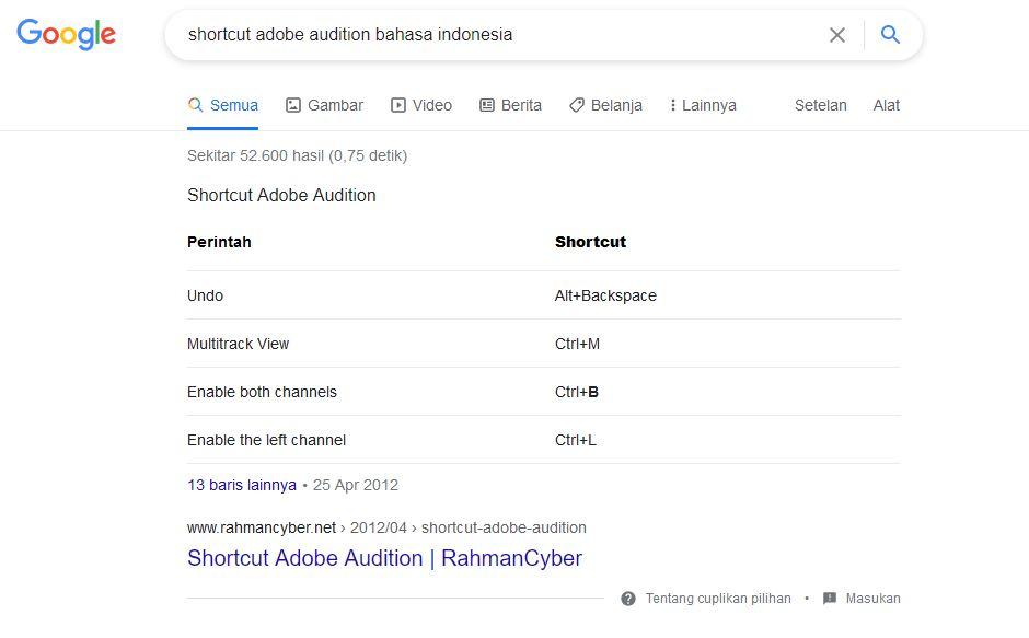 Contoh Google Snippet atau Cuplikan
