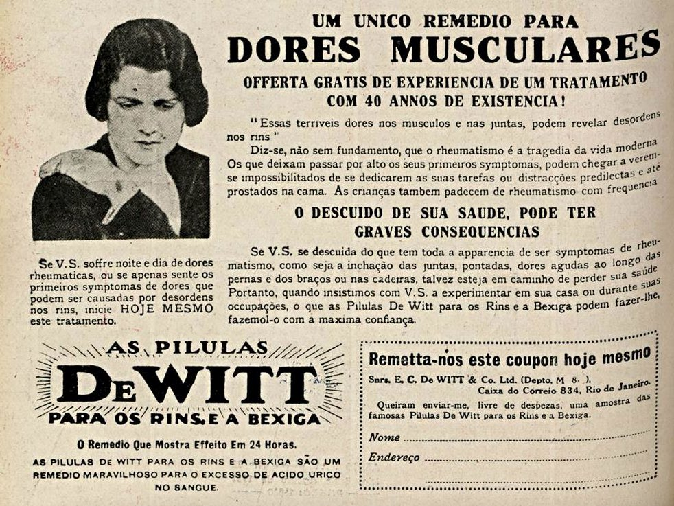 Propaganda antiga de 1931 das pílulas DeWitt que prometia o fim das dores musculares