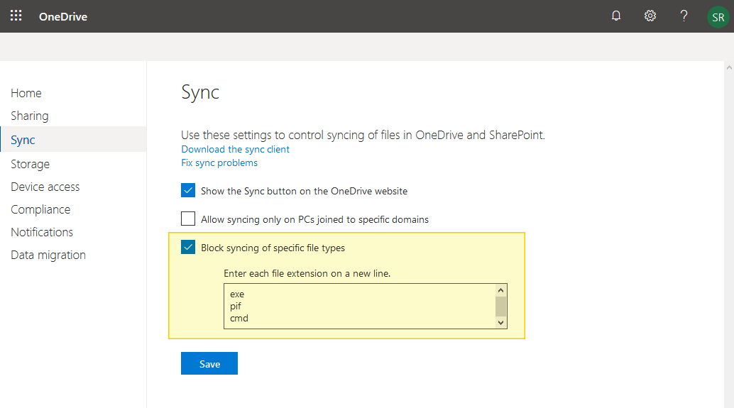onedrive for business block file types