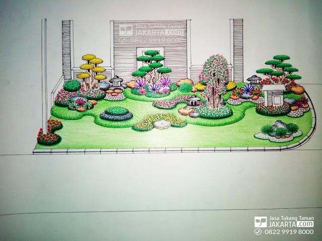 Sketsa taman rumah, jasa buat taman