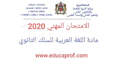 الامتحان المهني ديداكتيك تخصص مادة اللغة العربية السلك الثانوي 2020