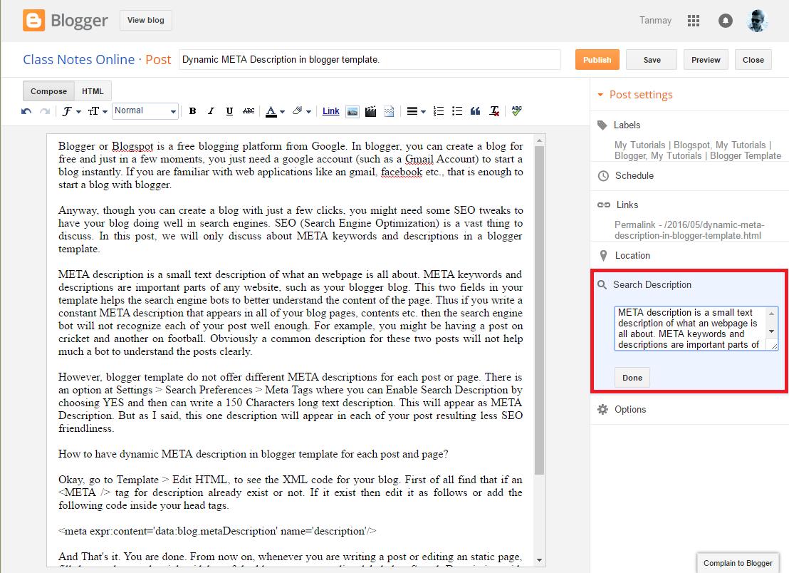 dynamic meta description in blogger template