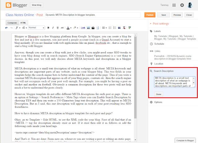 Dynamic META Description in blogger template.