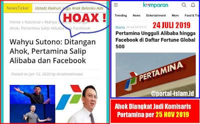 Ditangan Ahok, Pertamina Salip Alibaba dan Facebook Ternyata HOAX