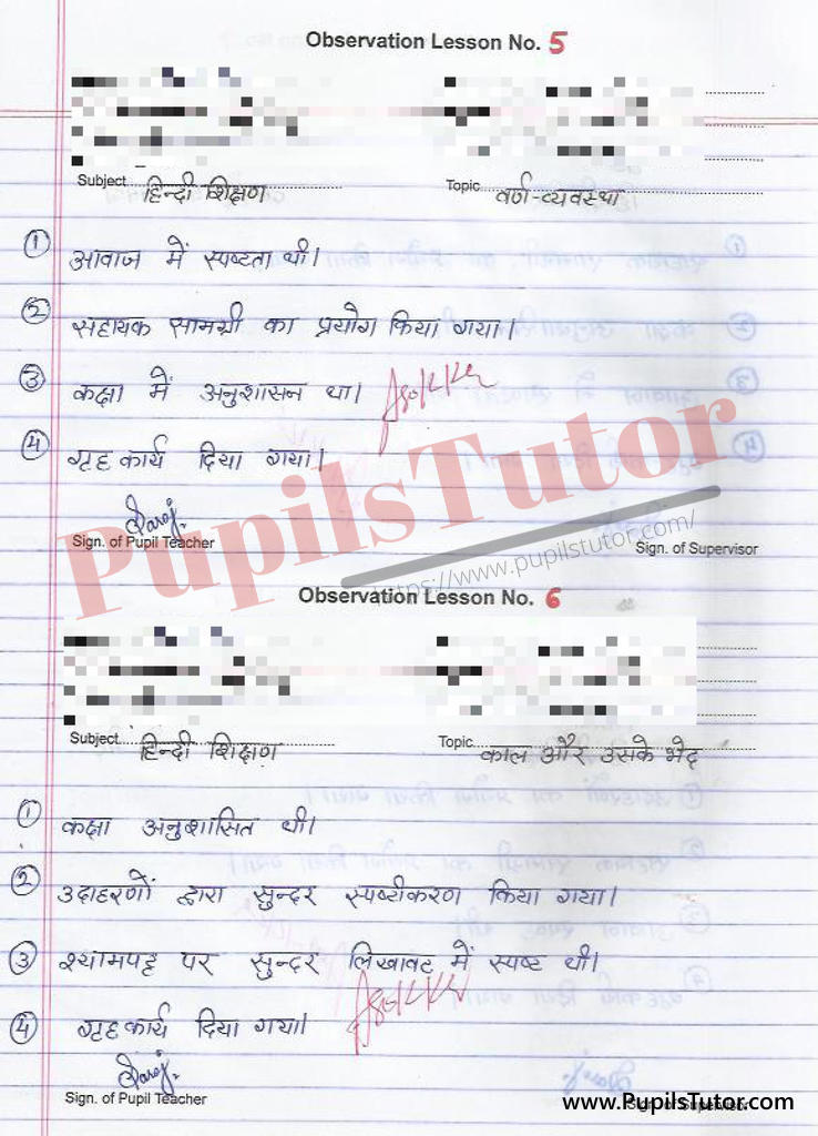 Hindi Grammar B.Ed 2nd Year Observation Lesson Plan on Kaal Aur Varn Vyavastha  for class 7 and Class 8