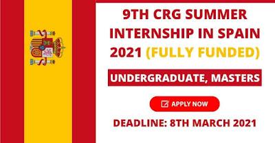 تدريب CRG في إسبانيا 2021 للطلاب الدوليين - ممول بالكامل