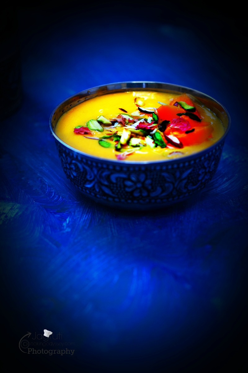 A delicious and orange colour mango dessert made with Indian mango, Alphonso and paneer. Serve chilled and garnish it with nuts.