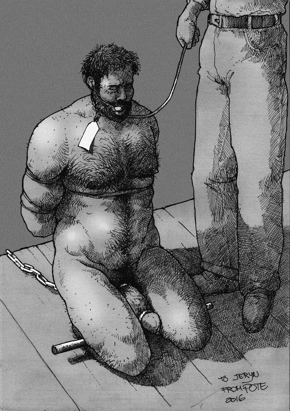 Male slave tortured with stinging nettles