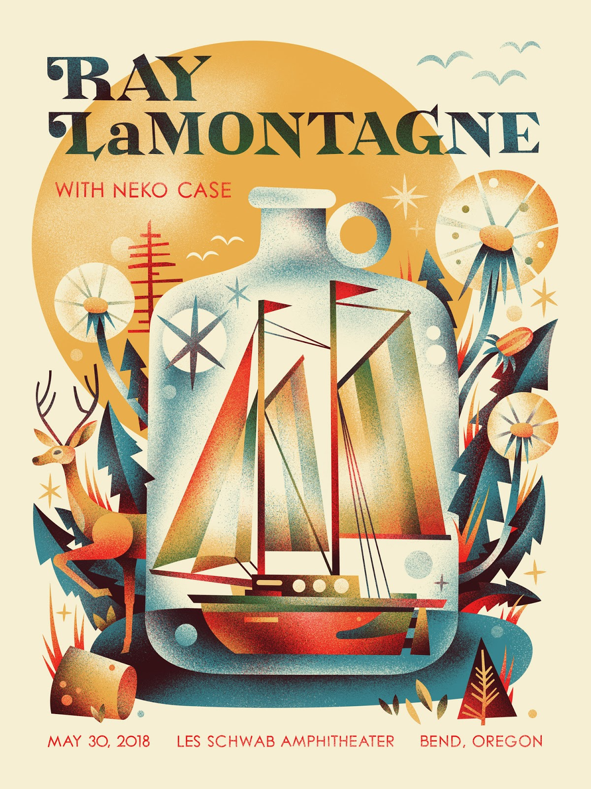 2018 Ray LaMontagne Show Poster Official Gig Poster Charlotte North Carolina June 19 18x24