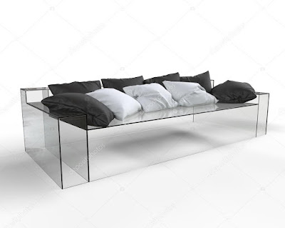A Transparent Glass Sofa