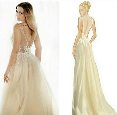 Projket vs gotowa suknia ślubna. Tiulowa z akcentem koloru i dekoltem na plecach.
