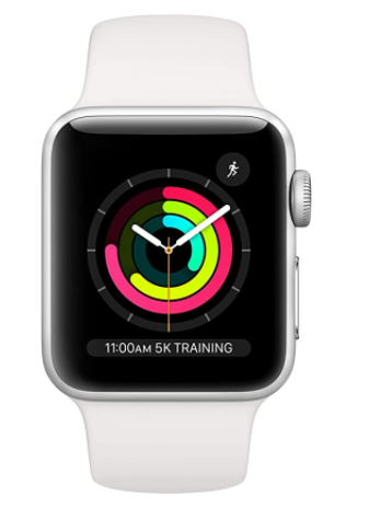 $141.35 BUY   Apple Watch Series 3 (GPS, 38mm) - Silver Aluminum Case with White Sport Band   Currently unavailable. We don't know when or if this item will be back in stock. Color:  Silver Aluminum with White Sport Band Supported ApplicationFitness Tracker, Sleep Monitor, GPS, Pedometer, Heart Rate Monitor BrandApple Wireless Communication StandardBluetooth, 802.11a/b/g/n ColorSilver Aluminum with White Sport Band Connectivity TechnologyBluetooth, Wi-Fi, GPS Operating SystemWatchOS Band ColorWhite Compatible DevicesIPhone 5s or later Human Interface InputTouchscreen, Dial Screen Size38 Millimeters  About this item  GPS Retina display Swimproof Optical heart sensor Stores music, podcasts, and audiobooks                     Recommended Products  BUY THIS PRODUCT Fossil Men's Townsman Stainless Steel and Leather Casual Quartz Chronograph Watch   Currently unavailable. We don't know when or if this item will be back in stock. Imported Fossil is inspired by American creativity and ingenuity. Bringing new life into the watch and leathers industry by making quality, fashionable accessories that are both fun and accessible. Taking our cues from 1960s-era architectural and automotive design, our Townsman has a clean, symmetrical style and elevated construction. Elegantly vaulted hands, beveled indices and a shapely case make this timepiece a classic for decades to come. 44mm case, 22mm band width, mineral crystal, Quartz movement with chronograph analog display, imported. Attachment Material/Color: Leather/Brown; Closure type: Single Prong Strap Buckle; Interchangeable with all Fossil 22MM bands Customize your watch with complimentary engraving at a local Fossil store. Engraving is available at participating U.S. and Canadian full-priced and outlet Fossil stores. This service is not applicable on all accessories.