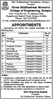 Shree Siddheshwar Women's College of Engineering, Solapur Recruitment 2019 Professor/Associate Professor/Assistant Professor Jobs