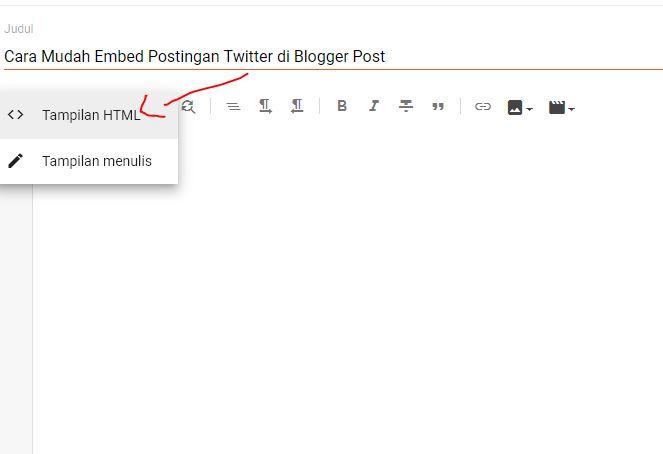 ubah ke tampilan html postingan blogger