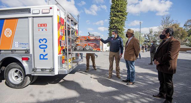 Enrique Vega entrega nueva Unidad de Rescate Especializado Urbano a PC