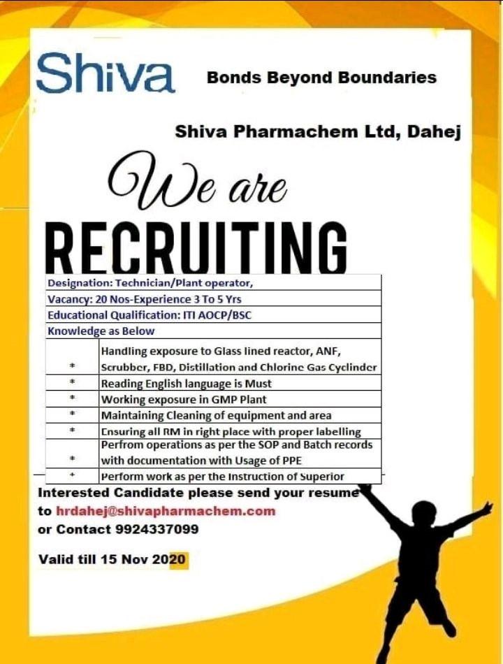 ITI /B.Sc Job For Position Technician/Plant Operator in Vacancy In Shiva Pharmachem Ltd Dahej, Gujarat