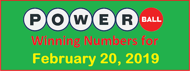 PowerBall Winning Numbers for Wednesday, 20 February 2019