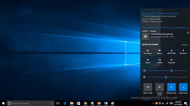 Windows 10 Creator Update - New Improvements on ACTION CENTER