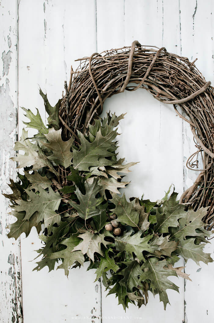 Stunning DIY Wreath for your Fall Front Door Made out of Preserved Oak Leaves