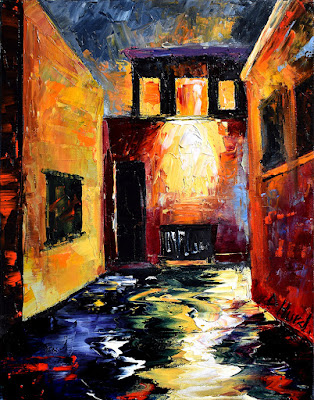 Alleyway Painting Alley Art Night Paintings Palette Knife by Debra Hurd