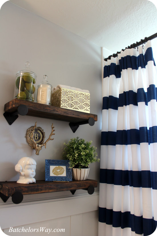 Attractive 63 Navy And Gold Shower Curtain