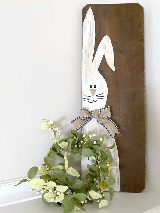 Repurposed Bench Seat DIY Easter Bunny Sign