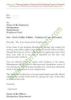 sample warning letter to employee for stealing company property