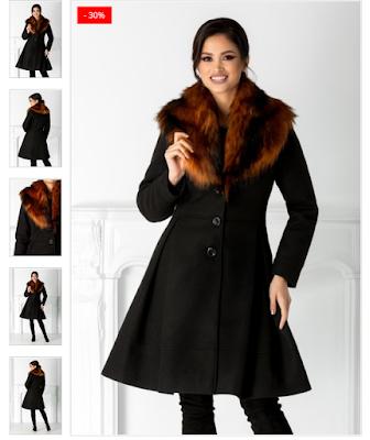 Palton elegant negru  Rever din blanita maro detasabila  Croi evazat