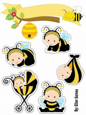 Baby Bees: Printable Cake Toppers.