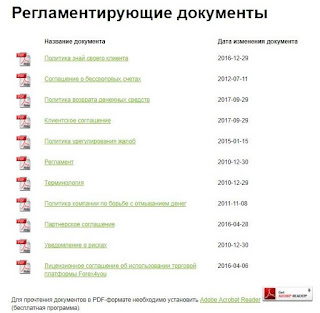 Регламентные документы Forex4you