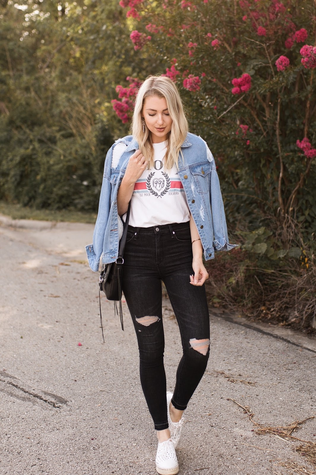 jean jacket + graphic tee