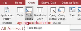 Membuat Tabel Access Design View