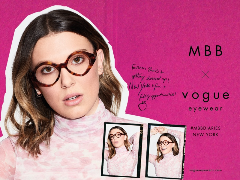 Millie Bobby Brown poses in MBB x Vogue Eyewear New York style.