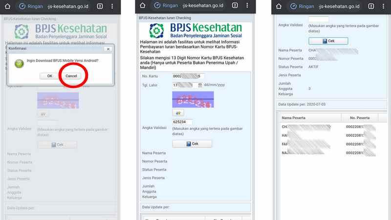 cara memeriksa tagihan BPJS online via HP android